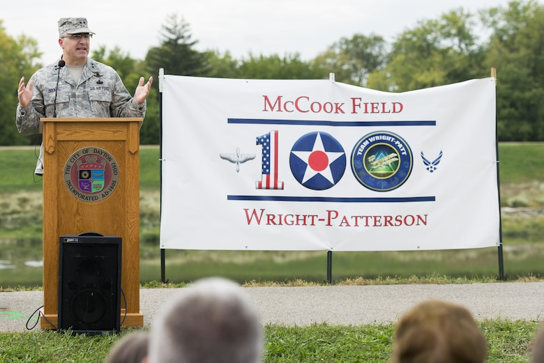 Maj. Gen. William T. Cooley, commander of the Air Force Research Laboratory, Wright-Patterson Air Force Base, Ohio, delivering remarks