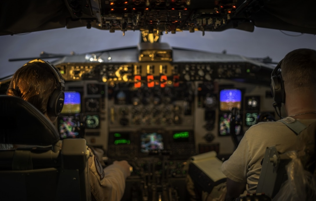 Air Force KC-135 Stratotanker pilots, assigned to the 340th Expeditionary Air Refueling Squadron, fly a mission over Iraq in support of Operation Inherent Resolve, Oct. 2, 2017. The KC-135 provides core refueling capabilities for OIR in the U.S. Central Command area of responsibility. Air Force photo by Staff Sgt. Trevor T. McBride