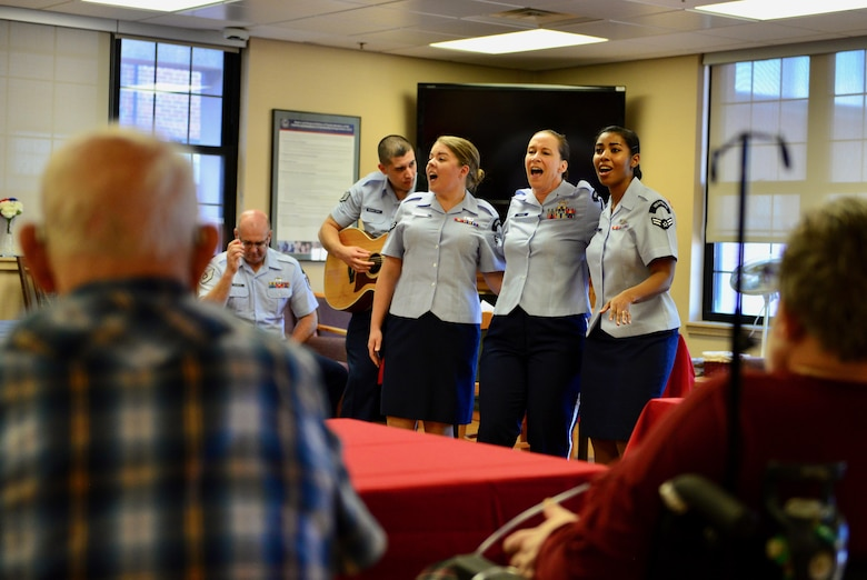 Members of the Heartland of America Band's Raptor ensemble perform at the Sioux Falls Veterans Health Care Center in Sioux Falls, South Dakota, Oct. 11, 2017. Raptor performed several sets for veterans receiving care at the center.