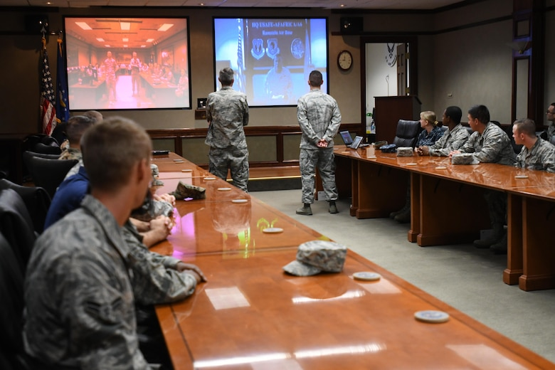 Lt. Gen. Richard Clark, 3rd Air Force commander, Ramstein Air Base, Germany, delivers remarks during a video teleconference with members of the 335th Training Squadron at Stennis Hall Oct. 12, 2017, on Keesler Air Force Base, Mississippi. Clark received a mission and regional weather forecast from 335th TRS weather students as a training demonstration as well as a mentorship opportunity. (U.S. Air Force photo by Kemberly Groue)