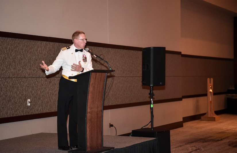Capt. Robert E. Hudson Deputy Commander, Joint Base Charleston and Commanding Officer, Naval Support Activity Charleston, introduces the guest speaker at the Navy's 242nd birthday ball in Charleston, S.C., Oct. 14, 2017.