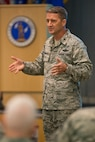 Brig. Gen. Steven S. Nordhaus, commander of the Air National Guard Readiness Center, Joint Base Andrews addresses recently-promoted chiefs during the Chief's Executive Course October, 16, 2017.