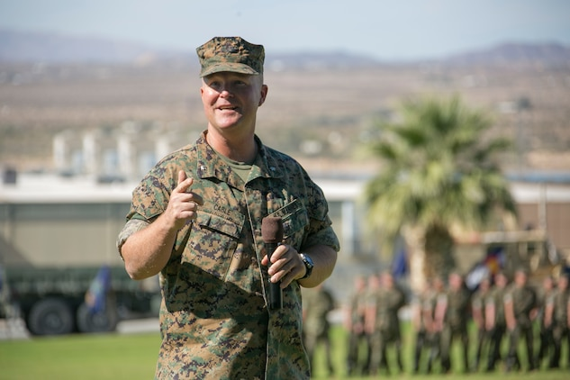 Lt. Col. Michael Cable, commanding officer, Headquarters Battalion,  addresses the crowd  during the retirement ceremony for Sgt. Maj. Avery Crespinformer Headquarters Battalion sergeant major,  at Lance Cpl. Torrey L. Gray field aboard the Combat Center, September 29, 2017. Crespin served in more than five units and Military Occupational Specialties in his 22 years of active duty service. (U.S. Marine Corps photo by Lance Cpl. Isaac Cantrell)