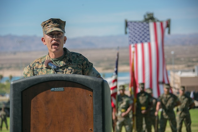 Sgt. Maj. Avery Crespin, former Headquarters Battalion sergeant major, address the crowd  during his retirement ceremony at Lance Cpl. Torrey L. Gray field aboard the Combat Center, September 29, 2017. Crespin served in more than five units and Military Occupational Specialties in his 22 years of active duty service. (U.S. Marine Corps photo by Lance Cpl. Isaac Cantrell)