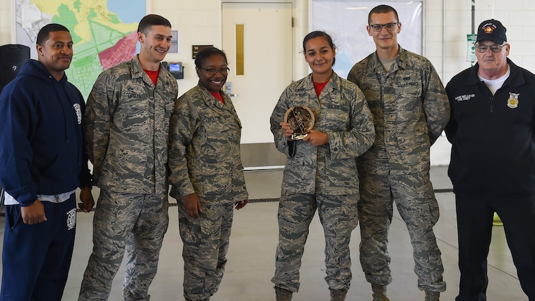 """The U.S. Air Force 633rd Civil Engineer Squadron """"Lt's"""" placed 1st during the Fire Prevention Week competition at Joint Base Langley-Eustis, Va., Oct. 13, 2017."""