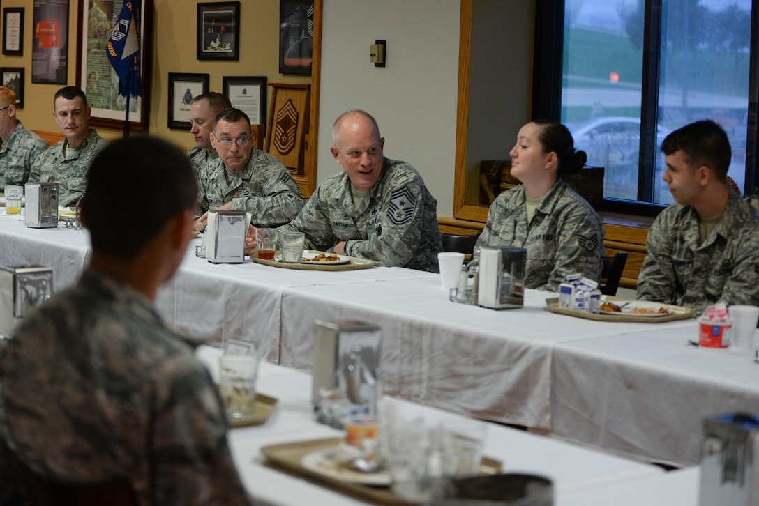 Chief Master Sgt. Frank Batten III, Air Combat Command's command chief, speaks with Airmen from the 557th Weather Wing at the King Dining Facility at Offutt Air Force Base, Oct. 4, 2017. Batten came to Offutt to see and experience all the base had to offer, and to meet the Airmen that drive the mission.