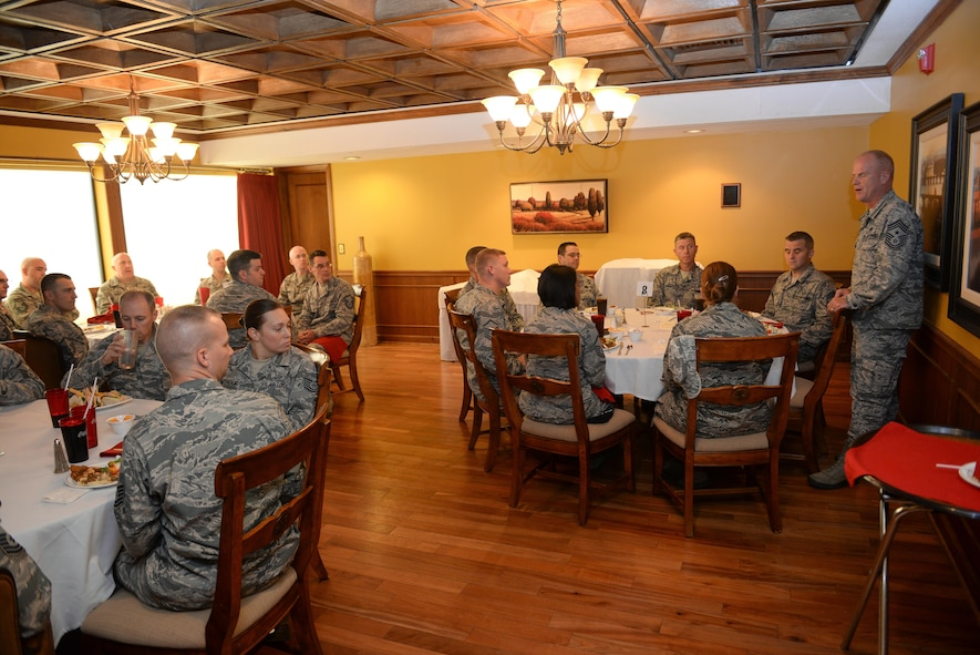 Command Chief Master Sgt. Frank Batten III, Air Combat Command's command chief, speaks with senior enlisted leaders at the Patriot Club at Offutt Air Force Base, Oct. 4, 2017. Batten came to Offutt to see and experience all the base had to offer, and to meet the Airmen that drive the mission.