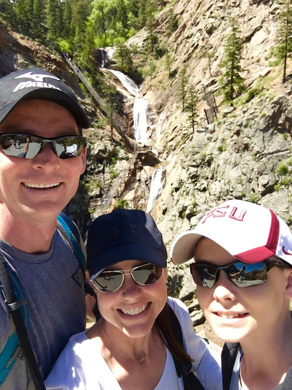 Col. David Miller, 341st Maintenance Group commander, left, his wife Leigh Ann, center, and their son Matthew, take a photo while visiting Colorado in 2017.