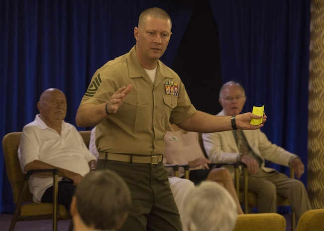 1st Sgt. John Miller, Headquarters Company first sergeant, I Marine Expeditionary Force Information Group, speaks to residents at The Covington, a retirement community in Viejo, Calif., October 4, 2017. He spoke about the legacy veterans have left that paved the way for the modern-day military. This community outreach event also showed military veterans our support and appreciation for the sacrifices they have made.
