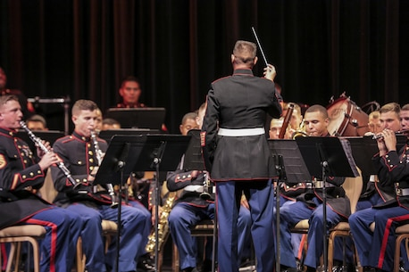 The 1st Marine Division Band, based out of Camp Pendleton, Calif., performed the annual Honor Our Fallen Tribute Concert at the Marines' Memorial theatre Oct. 5, 2017 as part of San Francisco Fleet Week 2017. 1st Marine Division Band was organized during World War II, and they perform at more than 300 commitments per year. (U.S. Marine Corps photo by Lance Cpl. Gabino Perez)