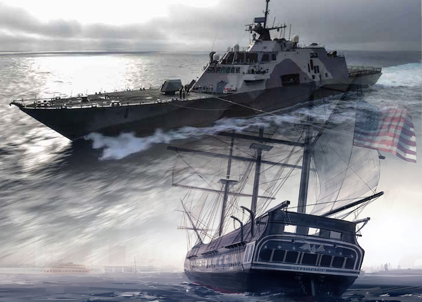 A photo illustration of the USS Freedom and the USS Constitution.
