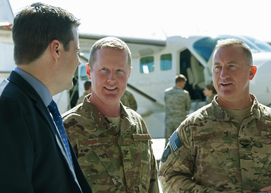 """Cols. Frank """"Les"""" Bradfield III and Nathan Green, 919th and 492nd Special Operations Wing commanders, respectively, answer questions"""
