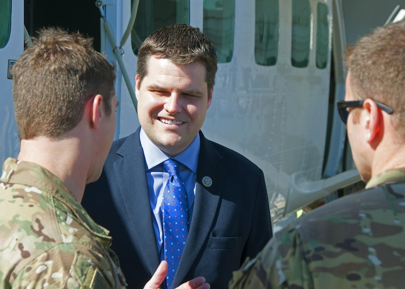 Rep. Matt Gaetz visits with Airmen during a tour of Duke Field, Fla., Oct. 17, 2017