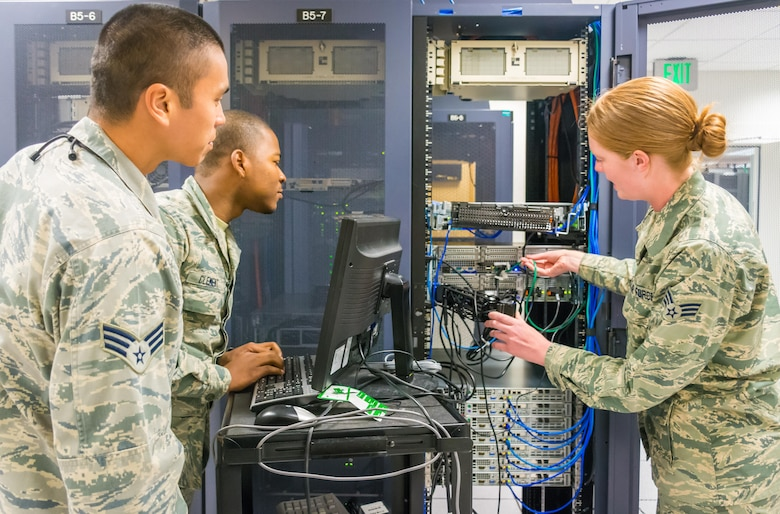 Boundary protection operators from the 561st Network Operations Squadron train on setting up firewalls used to provide security for networked computers on Peterson Air Force Base, Colorado in this undated photo. (Courtesy photo)