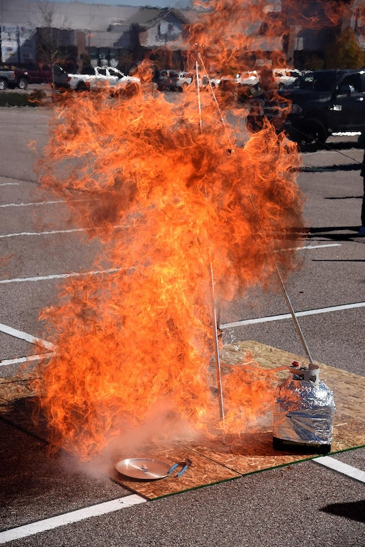A turkey explodes after it was placed in a deep fat fryer at the Base Exchange on Peterson Air Force Base, Colorado, Oct. 13, 2017. The demonstration showed that a turkey will explode if not properly prepared before frying. (U.S. Air Force photo by Robb Lingley)
