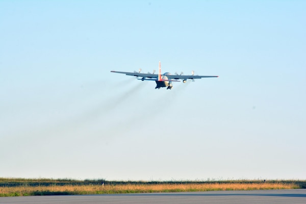 An LC-130 Skibird takes off from Stratton Air National Guard Base, Scotia, N.Y., to begin the journey to McMurdo Station, Antarctica, on Oct. 17, 2017.