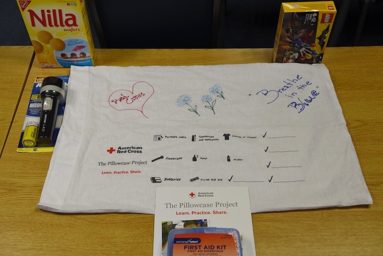 Supplies sit on the table for the Red Cross's Pillowcase project on Ramstein Air Base, Oct. 13, 2017. The project aims to teach disaster preparedness to third- through fifth-graders.