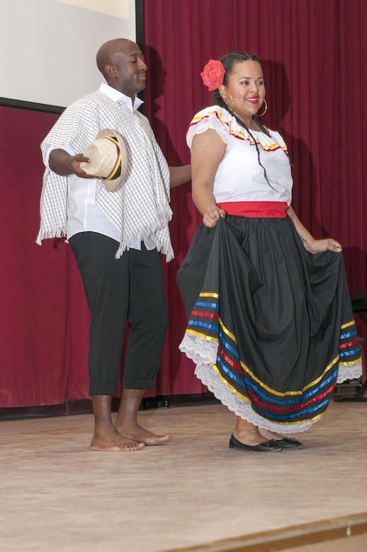 Man and woman performing a traditional Hispanic dance.
