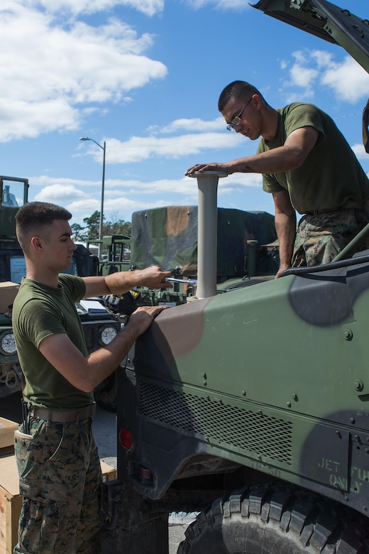 U.S. Marine Corps Pfc. Isaiah W. Rose, left, and Pfc. Carlos J. Deleon, antitank missile gunners with Battalion Landing Team 2nd Battalion, 6th Marine Regiment, upgrade a system on a high-mobility, multipurpose wheeled vehicle (HMMWV) at Camp Lejeune, N.C., Oct. 3, 2017.
