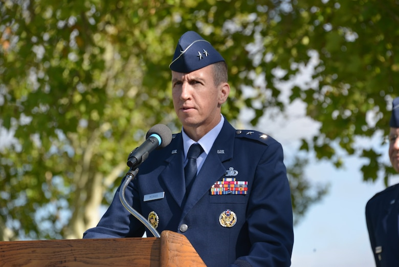 Maj. Gen. Shaun Q. Morris, Air Force Nuclear Weapons Center's new commander, speaks to the audience at his change of command ceremony Oct. 6 at Hardin Field.
