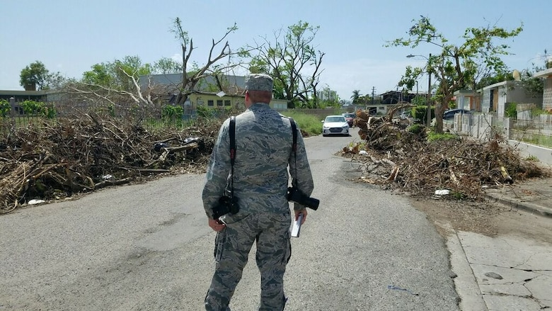 Capt. David J. Murphy, 81st Training Wing public affairs chief, surveys the damage caused by Hurricane Maria in Ponce, Puerto Rico, Oct. 8, 2017.