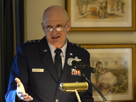 Lt. Gen. Arnie Bunch, military deputy for the office of the assistant secretary of the Air Force for acquisition, speaks during an Air Force Association breakfast in Washington, D.C., Oct. 17, 2017. (U.S. Air Force photo by Staff Sgt. Rusty Frank)