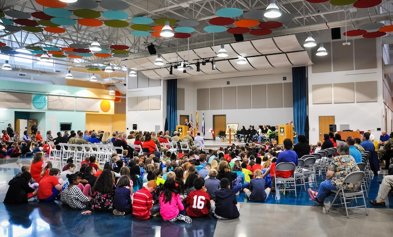 """Col. Gary """"Eddie"""" Gillon Jr., Chief of Staff, 1st Sustainment Command, Fort Knox, Kentucky addresses the audience comprised of students, faculty, and stakeholders during the Kingsolver Elementary School Ribbon Cutting Ceremony held Sept. 14, 2017."""