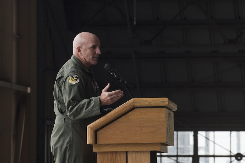 Col. Kenneth Moss, 374th Airlift Wing commander, speaks during the official C-130H Hercules Farewell Ceremony at Yokota Air Base, Japan, Oct. 16, 2017.
