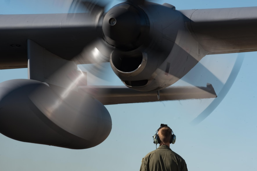 A U.S. Air Force C-130 Hercules crew chief assigned to the 910th Airlift Wing conducts pre-flight checks before departing Joint Base Langley-Eustis, Va., Oct. 18, 2017.