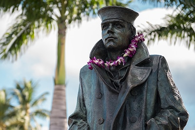The Lone Sailor statue in Pearl Harbor, Hawaii.