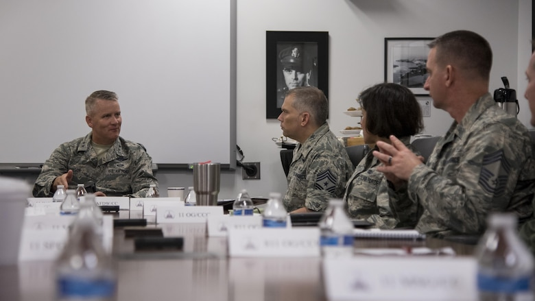 Maj. Gen. Jacobson & base leadership meet