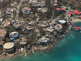 Aerial view of Hurricane Irma's impact on St. Thomas in the U.S. Virgin Islands.