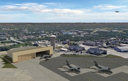A rendering shows how the Pittsburgh Air Force Reserve Station will look when completed.