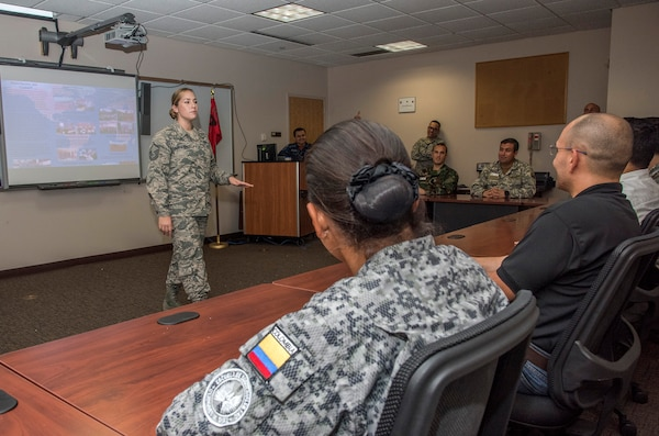Master Sgt. Amy Ferraro-Rodriguez, 837th Training Squadron instructor, provides professional military education training to international and civil service students during an International Airman Leadership School course Oct. 13, 2017 at Joint Base San Antonio-Lackland Inter-American Air Forces Academy. The IALS teaches the same course imparted to military personnel in the grade of senior airman and staff sergeant or E-5 equivalent in the United States Air Force Total Force. This course is the foundational step in the professional development as it prepares individuals to assume greater leadership and responsibilities.