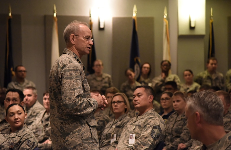 Lt. Gen. Mark Ediger, Air Force Surgeon General, delivers remarks during an all-call at the 81st Medical Center's Don Wiley Auditorium Oct. 17, 2017, on Keesler Air Force Base, Mississippi. The purpose of Ediger's visit was to get familiar with the 81st Medical Group's mission, operations and personnel. During his tour, he visited more than 10 different units in the 81st MDG to include mammography, emergency department, radiology and oncology, genetics and the clinical research lab. (U.S. Air Force photo by Kemberly Groue)