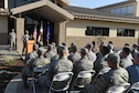 Col. Larry Broadwell, 9th Reconnaissance Wing commander, gives closing remarks during a ceremony to commemorate the grand opening of the 9th Civil Engineer Squadron's new building at Beale Air Force Base, California, Oct. 17, 2017. The new facility replaces their last location that was destroyed in a structure fire early 2013. (U.S. Air Force photo/Senior Airmen Justin Parsons)