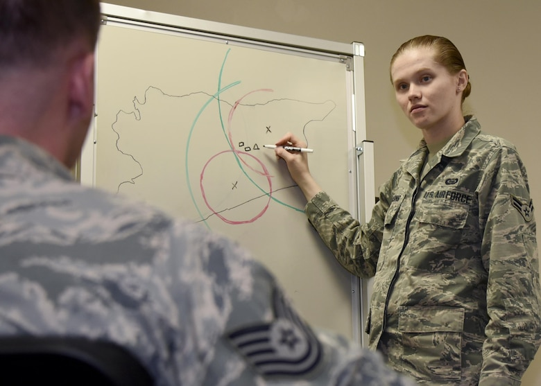 Airman 1st Class Allison Dassing responds to a simulated intelligence threat situation Oct. 3, 2017 at Warfield Air National Guard, Middle River, Md. Dassing is a fulltime intelligence technician but in her free time enjoys spending time with family, travelling and video games. (U.S. Air National Guard photo by Senior Airman Enjoli Saunders)