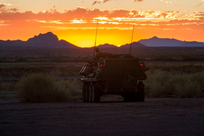 Marines with Company B, 1st Light Armored Reconnaissance Battalion, 1st Marine Division, hold security in a light armored vehicle during Deep Strike II in the River Valley, Calif., Sept. 12, 2017.