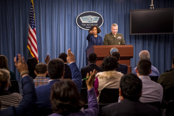 Dana White, assistant to the defense secretary for public affairs, and Marine Corps Lt. Gen. Kenneth F. McKenzie Jr., director of the Joint Staff, brief reporters at the Pentagon, Oct. 19, 2017. DoD photo by Air Force Staff Sgt. Jette Carr