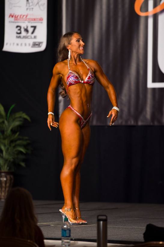 Talbot competing in bodybuilding competition