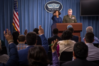 Dana W. White, chief Pentagon spokesperson, and Lt. Gen. Kenneth F. McKenzie, the Joint Staff director, brief the press at the Pentagon.