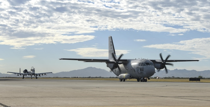 A C-27J Spartan prepares to depart from Davis-Monthan Air Force Base, Oct. 19, 2017. This aircraft was the last of 13 C-27Js which were regenerated from the 309th Aerospace Maintenance and Regeneration Group at D-M and given to the U.S. Coast Guard. (U.S. Air Force photo by Airman 1st Class Frankie D. Moore)