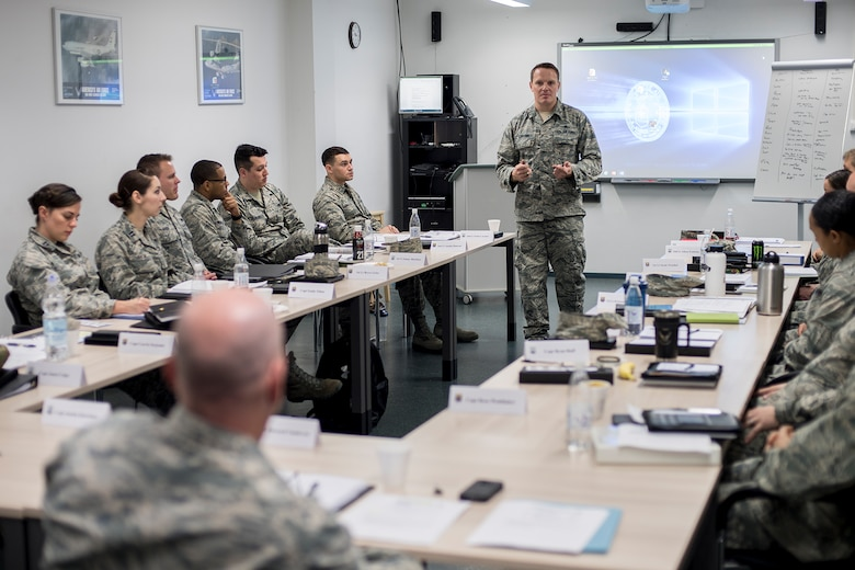 U.S. Air Force Capt. Justin Klawitter, 521st Air Mobility Operations Wing Cyberspace Operations chief, speaks to company grade officers during the Flight Commander and Officer in Charge Leadership Development Course on Ramstein Air Base, Germany, Oct. 16, 2017. The course is designed to prepare young officers for their new roles and responsibilities as Air Force leaders. (U.S. Air Force photo by Senior Airman Devin Boyer)