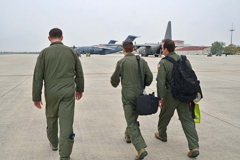 Another mission coming up. Pilots on their way to the SAC C-17's.