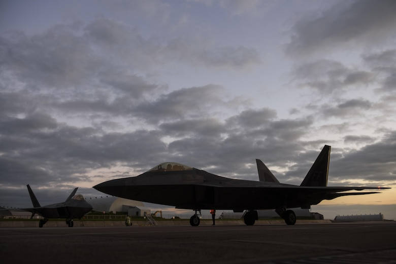 An F-22 Raptor assigned to the 1st Fighter Wing, Joint Base Langley-Eustis, Va., taxis at Spangdahlem Air Base, Germany, Oct. 13, 2017.