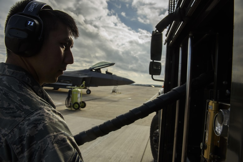 Senior Airman Josh Kampa, 52nd Logistic Readiness Squadron fuels distribution operator, refuels an F-22 Raptor assigned to the 1st Fighter Wing, Joint Base Langley-Eustis, Va., at Spangdahlem Air Base, Germany, Oct. 13, 2017.