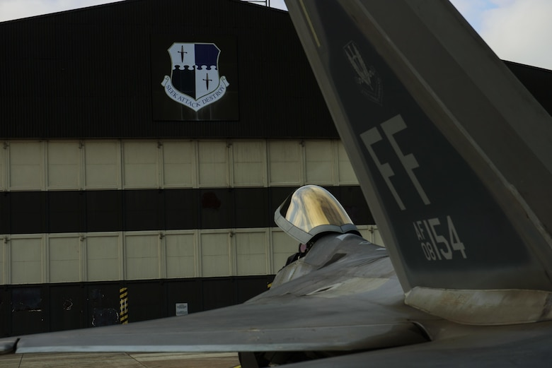 An F-22 Raptor assigned to the 1st Fighter Wing, Joint Base Langley-Eustis, Va., sits on the flightline at Spangdahlem Air Base, Germany, Oct. 13, 2017.