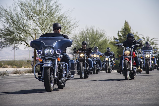 Motorcyclists depart the San Bernardino County Sherriff's Department during the 4th Annual Roar Against Domestic Violence Motorcycle Ride, Oct. 13, 2017. The ride was hosted to raise awareness for domestic violence amongst Combat Center patrons as well as provide them with resources in the event that they suspect an incident of domestic violence has occurred. (U.S. Marine Corps photo by Cpl. Cpl. Maliek Fowler)