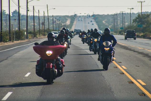 Motorcyclists ride down Highway 62 during the 4th Annual Roar Against Domestic Violence Motorcycle Ride, Oct. 13, 2017. The ride was hosted to raise awareness for domestic violence amongst Combat Center patrons as well as provide them with resources in the event that they suspect an incident of domestic violence has occurred. (U.S. Marine Corps photo by Cpl. Medina Ayala-Lo)