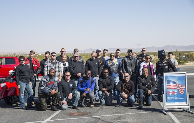 Combat Center patrons took part in the 4th Annual Roar Against Domestic Violence Motorcycle Ride, Oct. 13, 2017. The ride was hosted to raise awareness for domestic violence amongst Combat Center patrons as well as provide them with resources in the event that they suspect an incident of domestic violence has occurred. (U.S. Marine Corps photo by Cpl. Medina Ayala-Lo)